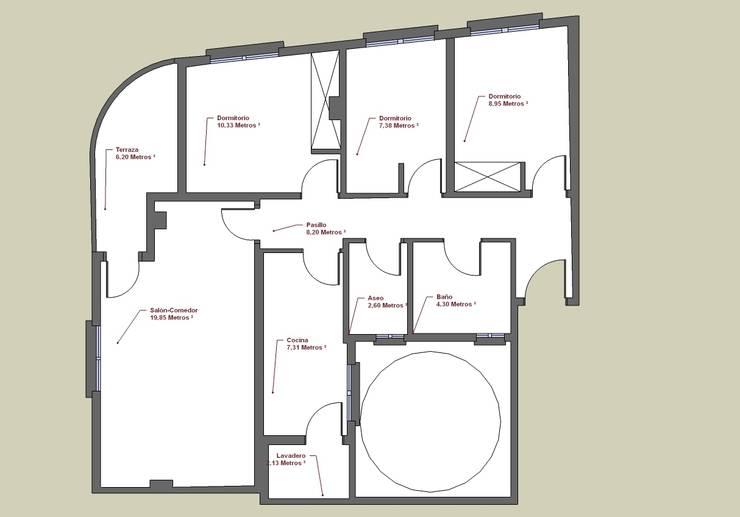 Plano de planta de la vivienda antes de reforma: Comedores de estilo  de MUMARQ ARQUITECTURA E INTERIORISMO