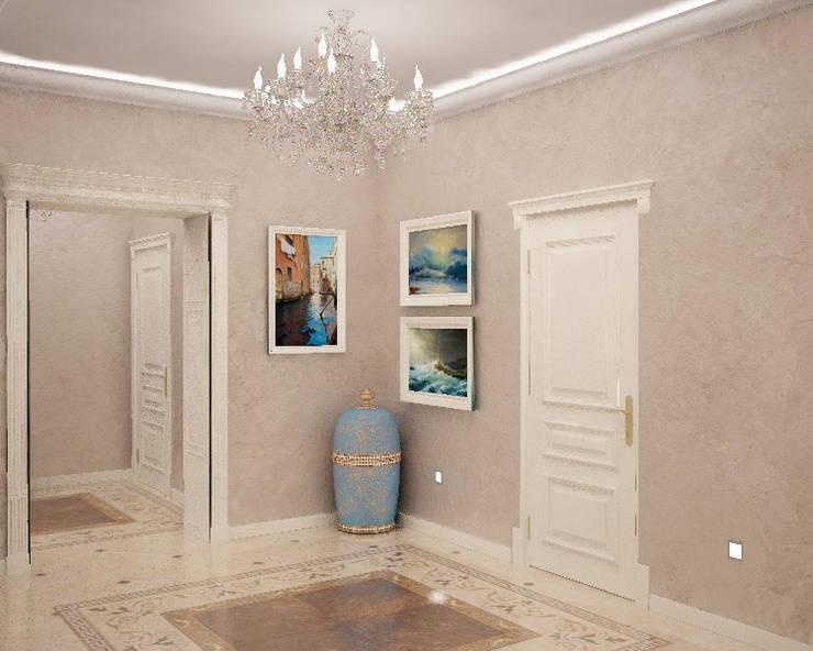 Холл третьего этажав загородном доме в подмосковье: Коридор и прихожая в . Автор – Гурьянова Наталья,