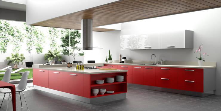 Cocina de lineas rectas amplia y moderna:  de estilo  de JG Fotografia & Render