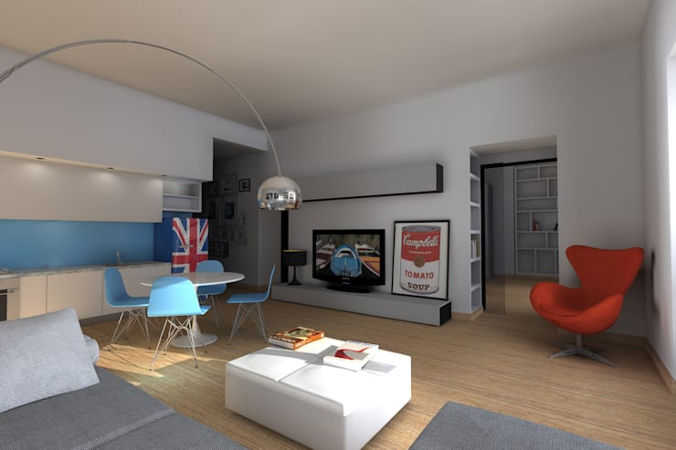 Soggiorno - Zona TV: Soggiorno in stile in stile Eclettico di Marco D'Andrea Architettura Interior Design