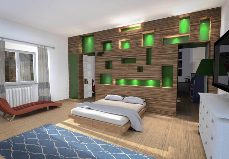 Testata letto: Soggiorno in stile in stile Eclettico di Marco D'Andrea Architettura Interior Design