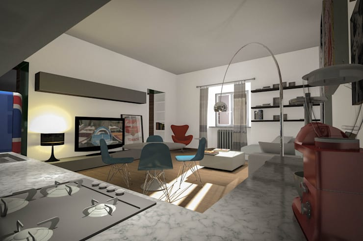 Cucina: Soggiorno in stile in stile Eclettico di Marco D'Andrea Architettura Interior Design