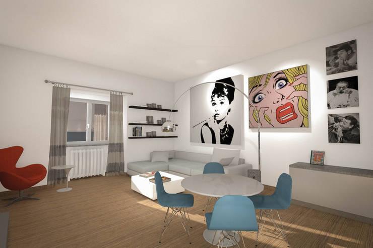 Appartamento privato - Bilocale: Soggiorno in stile in stile Eclettico di Marco D'Andrea Architettura Interior Design