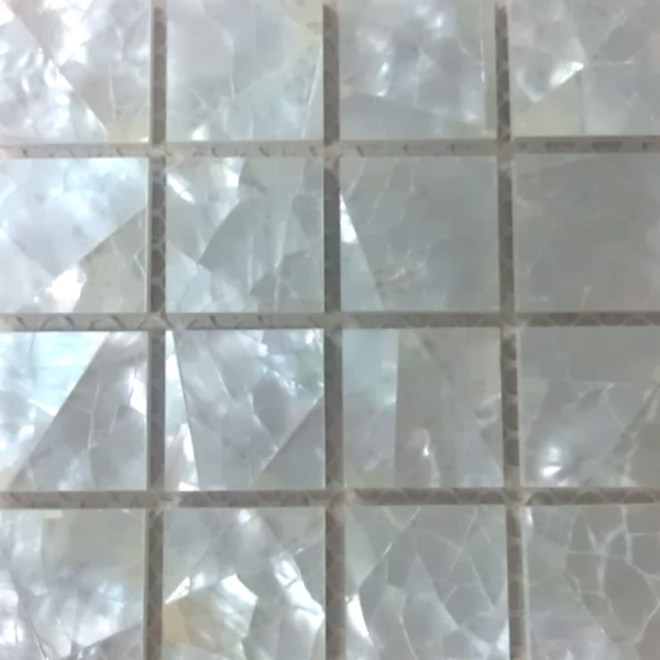 White Lip Crackle Mother of Pearl Mesh-Joint tile:  Walls & flooring by ShellShock Designs