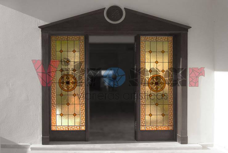 Fijos laterales arenados exterior: Puertas y ventanas de estilo ecléctico de Vitromar Vidrieras Artísticas