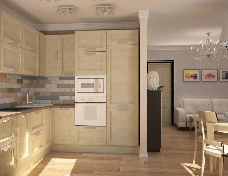 Кухня-гостиная в классическом стиле: Гостиная в . Автор – Гурьянова Наталья