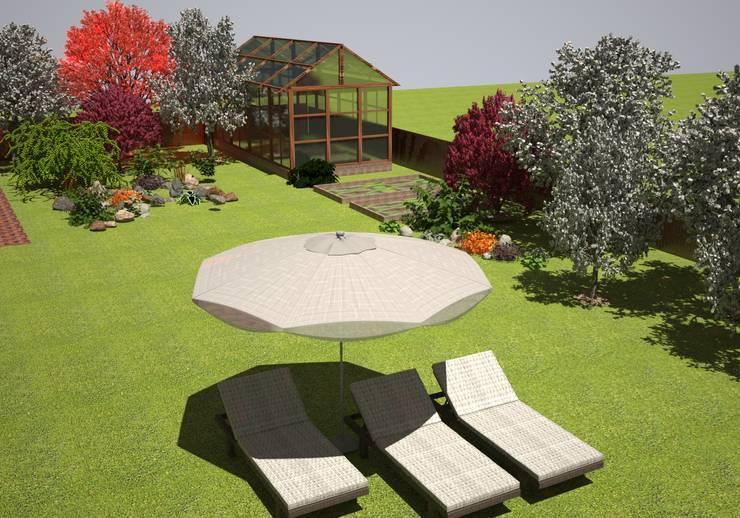 Сад рядом с дачным домиком: Дома в . Автор – Гурьянова Наталья, Средиземноморский