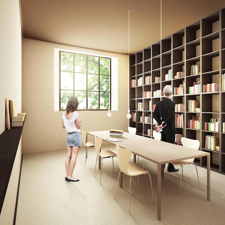 Estudios y despachos de estilo moderno por QBatelier + FèRiMa