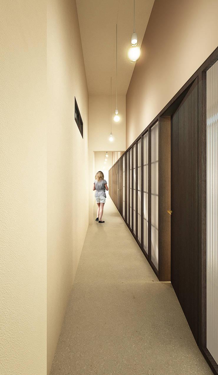 Pasillos y vestíbulos de estilo  por QBatelier + FèRiMa