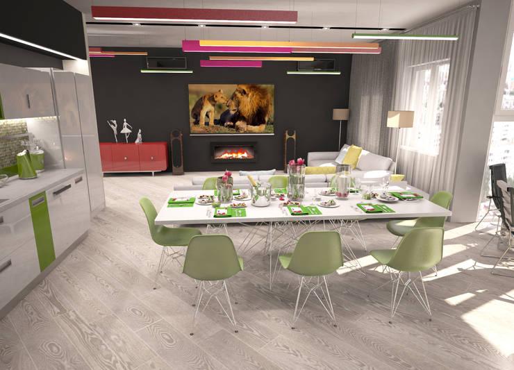 Квартира для большой семьи, кухня-столовая-гостиная: Столовые комнаты в . Автор – Гурьянова Наталья