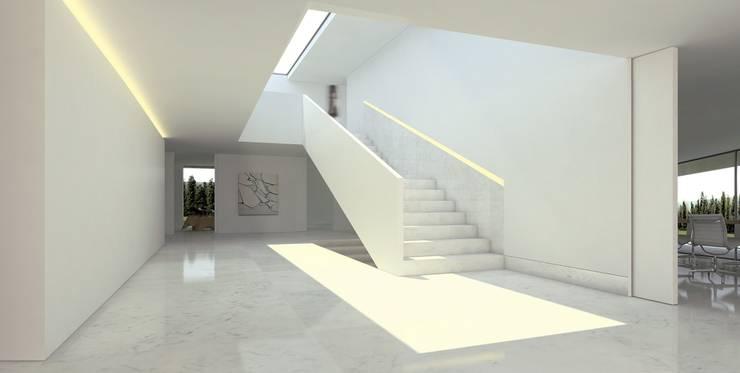 Casa de Aluminio. Fran Silvestre Arquitectos: Pasillos y vestíbulos de estilo  de FRAN SILVESTRE ARQUITECTOS