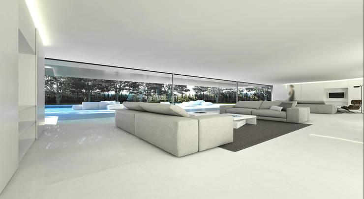 Casa de Aluminio. Fran Silvestre Arquitectos: Salones de estilo minimalista de FRAN SILVESTRE ARQUITECTOS