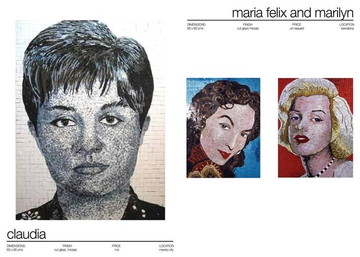 MOSAIC PORTRAITS: Paredes y suelos de estilo ecléctico de Martin Brown Mosaics