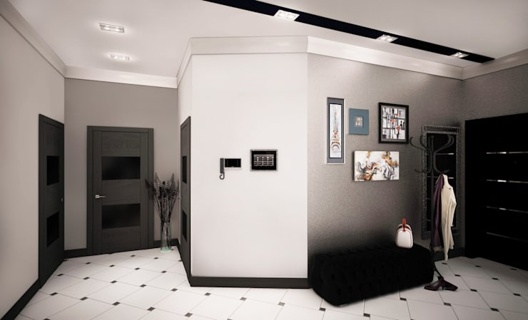 Проект интерьера трехкомнатной квартиры: Коридор и прихожая в . Автор – Гурьянова Наталья