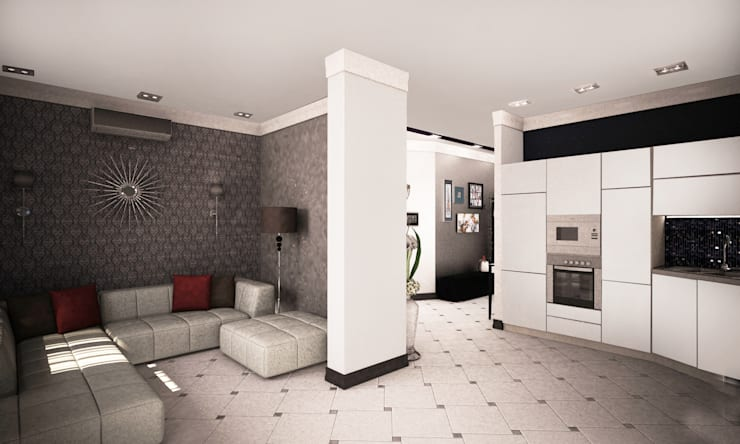 Проект интерьера трехкомнатной квартиры: Гостиная в . Автор – Гурьянова Наталья