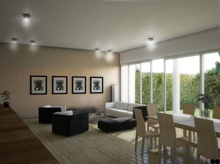 Casa X: Salas de estilo  por REA + m3 Taller de Arquitectura