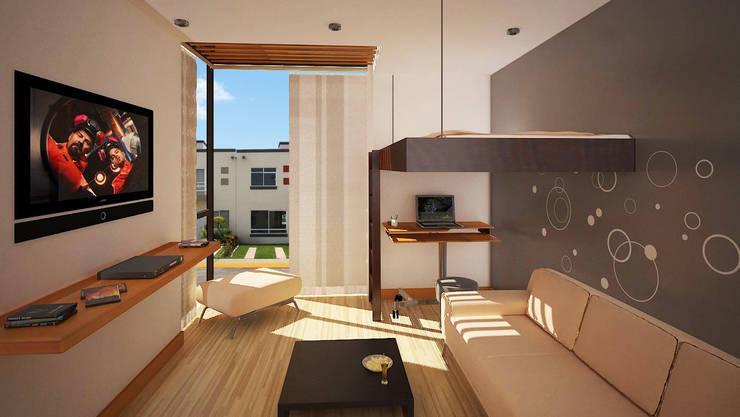 Remodelacíon de  habitación Hacienda San Juan: Recámaras de estilo  por Arquitectura Libre