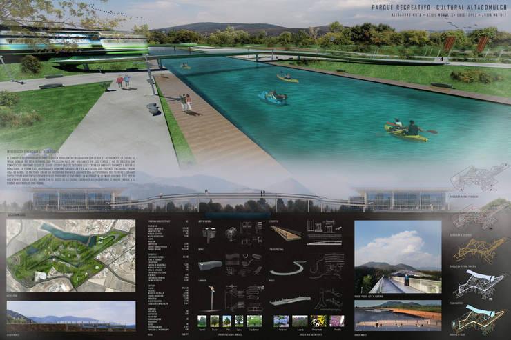 Parque recreativo-cultural Atlacomulco: Salones para eventos de estilo  por Arquitectura Libre