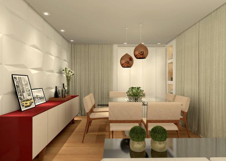 Sala de Estar e Jantar - RJ: Salas de jantar  por Konverto Interiores + Arquitetura