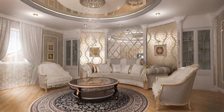 Благородная неоклассика: Гостиная в . Автор – Студия Маликова