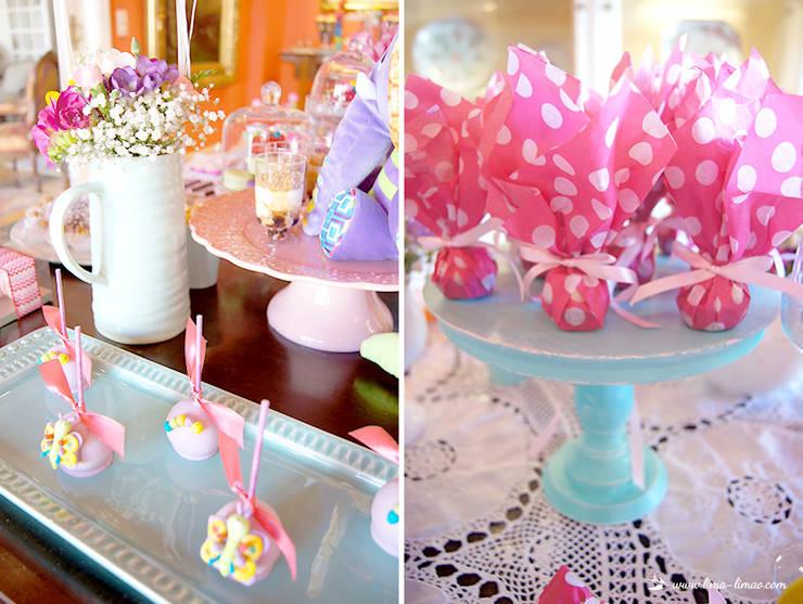 Detalhes da mesa dos doces.: Sala de jantar  por Lima Limão-  Festas com charme