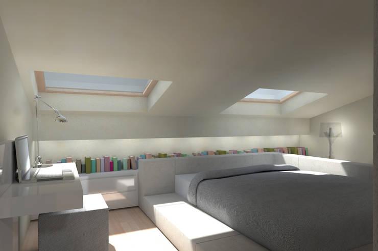 ambienti di qualità in piccoli spazi: Camera da letto in stile  di Giussani Patrizia