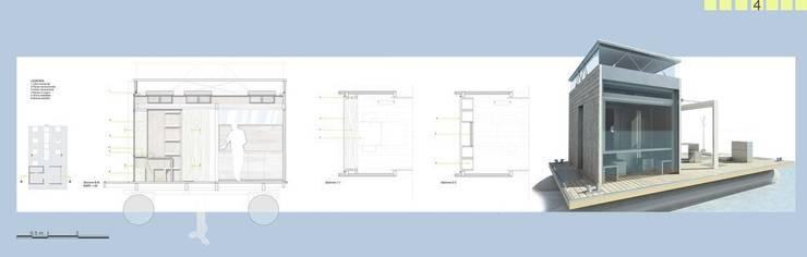Casa Galleggiante, abitare minimo sull'acqua: Case in stile  di studioLO architetti
