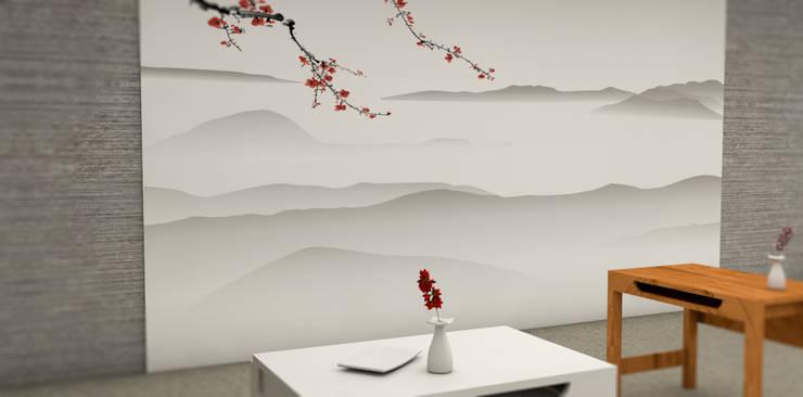 Tapisserie décor Japonnais: Locaux commerciaux & Magasins de style  par YEDA