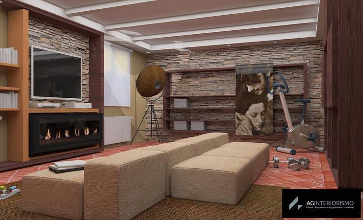 Render Sala multifuncional : Salones de estilo  de AG INTERIORISMO