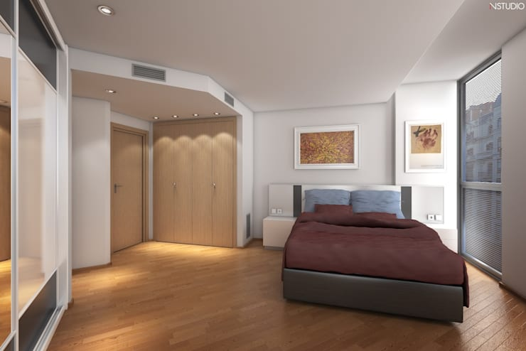 Dormitorio: Casas de estilo moderno de NSTUDIO
