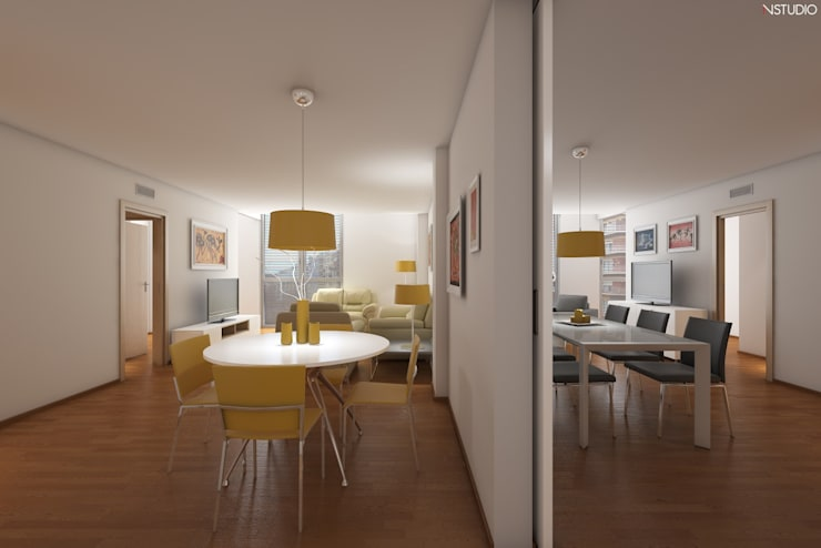 Comedor: Casas de estilo moderno de NSTUDIO