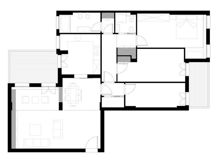 MVA: Camera da letto in stile  di NEAR Network di Architettura