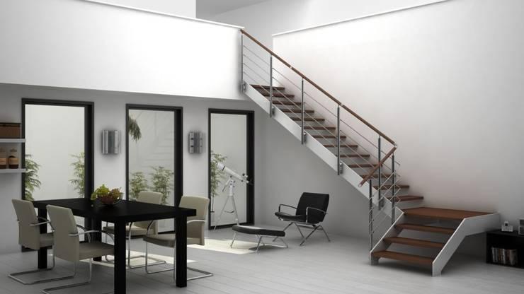 Wood touch: Vestíbulos, pasillos y escaleras de estilo  de Comenza
