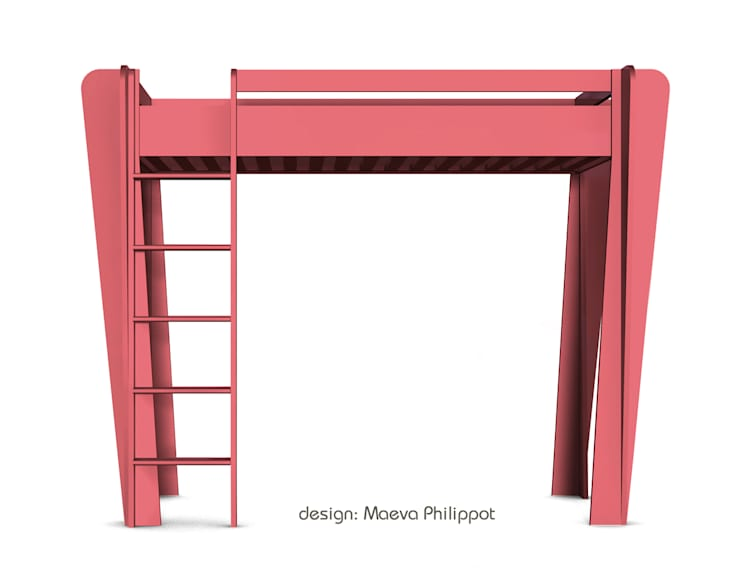 Lit mezzanine couleur de ZineZoé: Chambre d'enfants de style  par ZineZoé