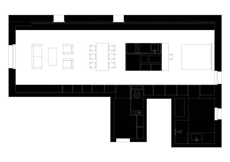 Apartment renovation in Paris-7th:  in stile  di GIULIANO-FANTI ARCHITETTI