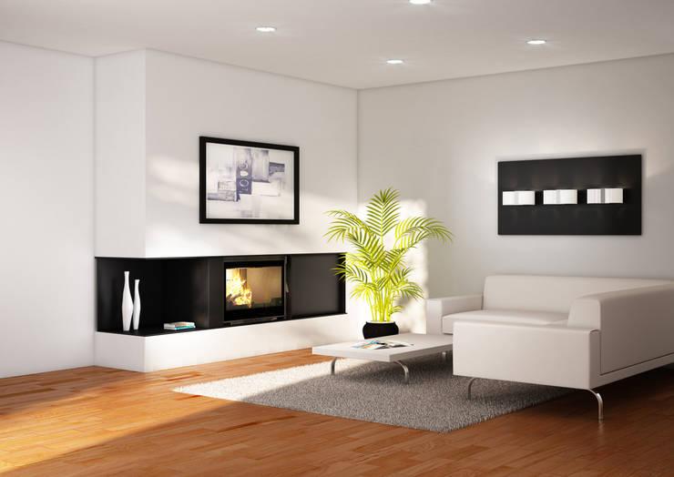 Cheminée Calisto: Salon de style de style Moderne par GROUPE SEGUIN DUTERIEZ