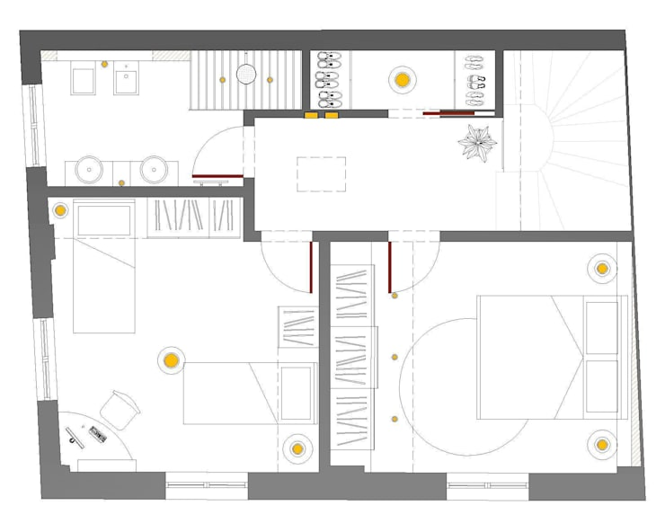 Pianta Arredo P. Primo | Ipotesi Distributiva 2:  in stile  di IDesign di Nicola Fiorani