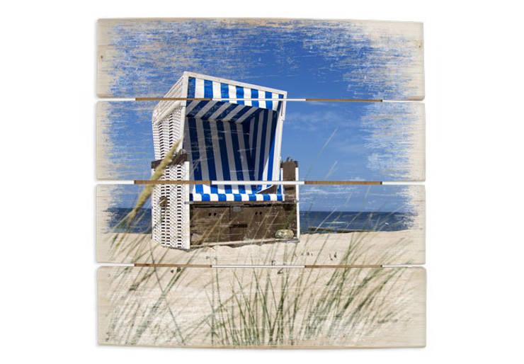 Holzbilder - Strandkorb :   von K&L Wall Art,Mediterran