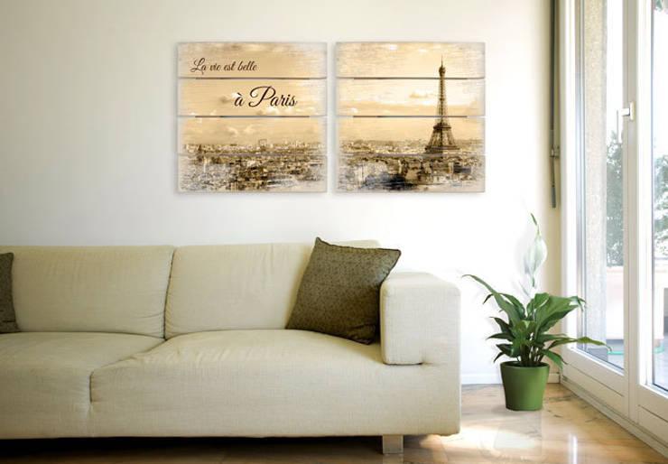 Holzbilder - Holzbild-Set Paris Skyline (2-teilig) :   von K&L Wall Art,Ausgefallen