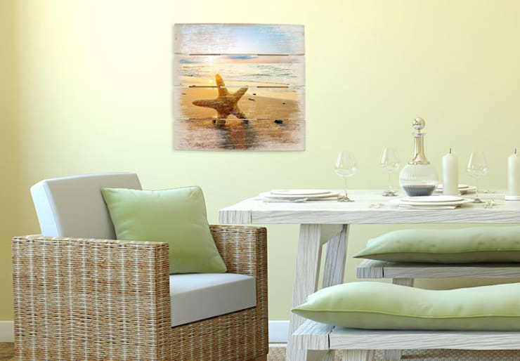 Holzbilder - Seestern im Sand :   von K&L Wall Art,Mediterran