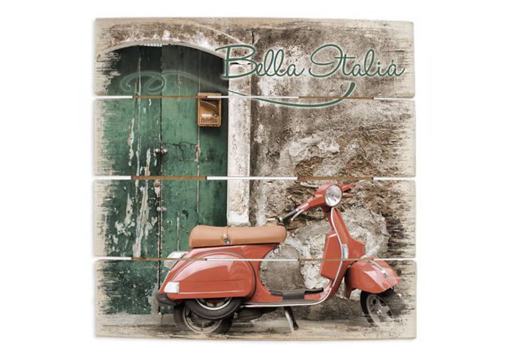 Holzbilder - Red Scooter :   von K&L Wall Art,Mediterran