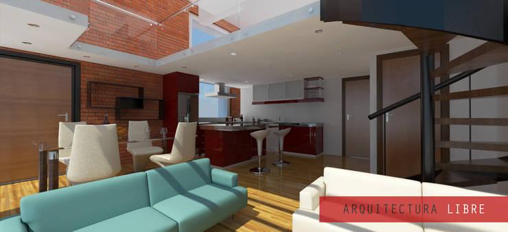 Interior loft Tipo B: Salas de estilo  por Arquitectura Libre