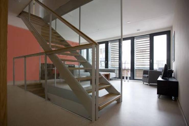 DUURZAME WONING OP VRIJ KAVEL NIEUW LEYDEN:  Gang en hal door D. M. Alferink architect, Modern