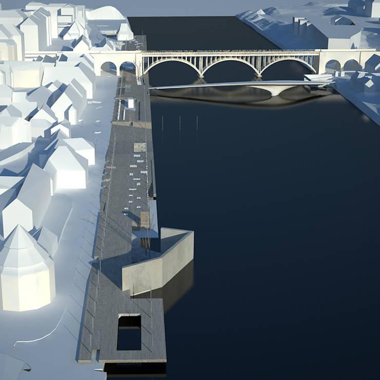 MARIBOR - EPK 2012 - EMBANKMENT OF THE RIVER DRAVA:  in stile  di DELISABATINI architetti