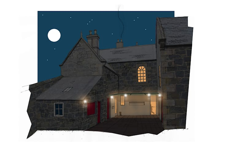 Farmhouse Renovation:  Living room by Fife Architects