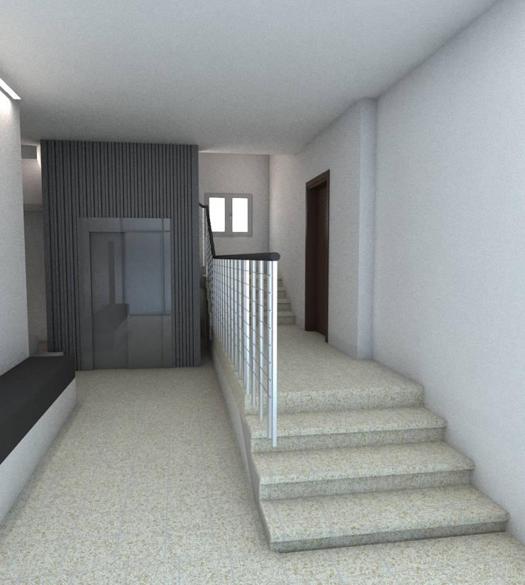 Instalación de ascensor Cantalejo (Segovia): Pasillos y vestíbulos de estilo  de Q:NØ Arquitectos