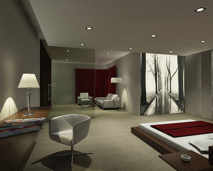 Habitacion con cuadro retroiluminado Dormitorios de estilo moderno de Presumedetucasa.es Moderno
