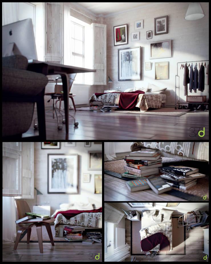 Minimal Loft: Estudios y despachos de estilo ecléctico de 37d Architecture Office