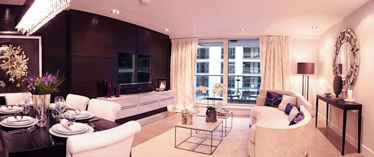 Chelsea Harbour Apartment:  Living room by Definitive Interior Design