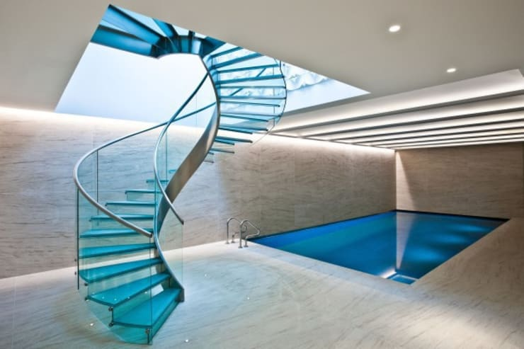 Pool & Wellness Area with Spiral Staircase:  Pool by London Swimming Pool Company